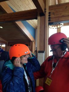 Ward and Kathy sybc'ing blue tooth helmets